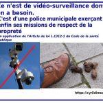 Non à la vidéosurveillance. Oui à une police municipale faisant enfin son travail de lutte pour la propreté