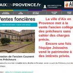 La vente du collège des prêcheurs est lancée par la mairie. Non à la privatisation généralisée du patrimoine Aixois.